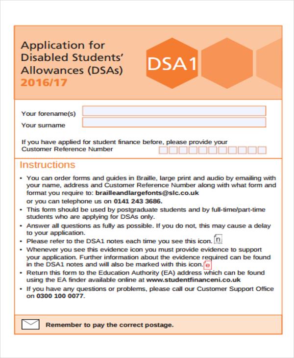student allowance application