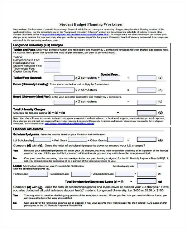 student budget planning worksheet