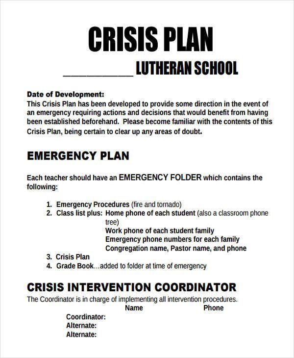 9 crisis plan templates free sample example format for Sample crisis management plan template