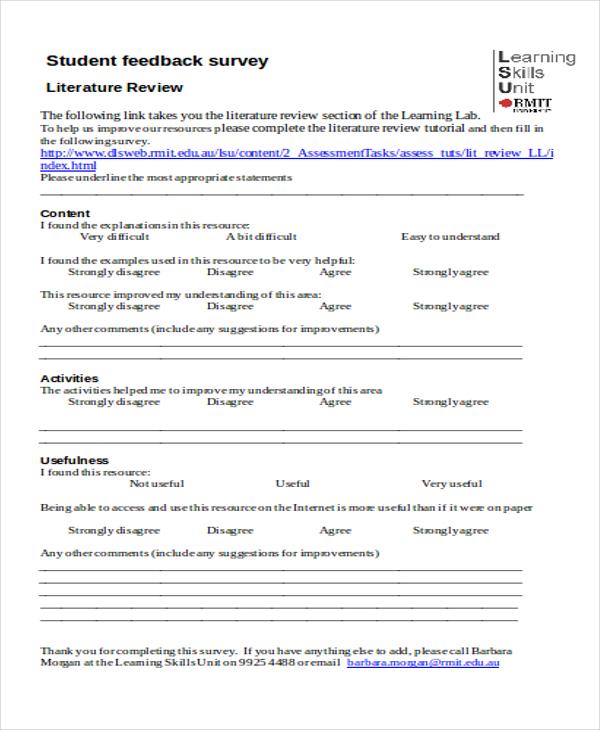 student feedback sheet