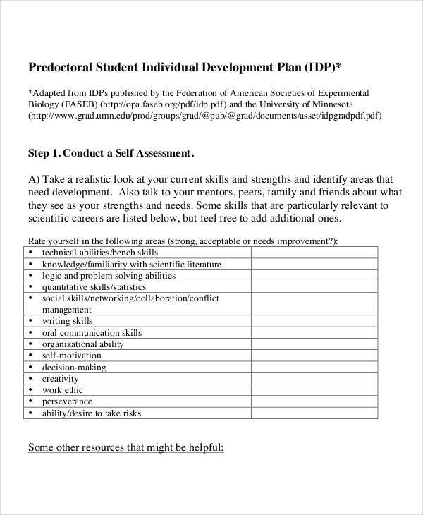 14 individual development plan templates free sample for Student improvement plan template