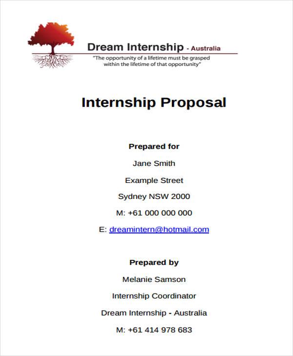 student internship proposal