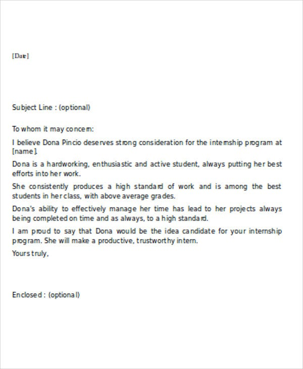 Sample Internship Reference Letters  Free Samples Examples