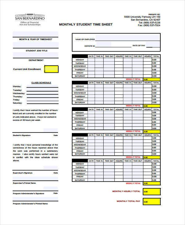 student monthly timesheet