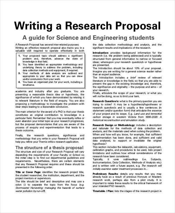 Student Research Project Proposal  Example Of Project Proposal Used