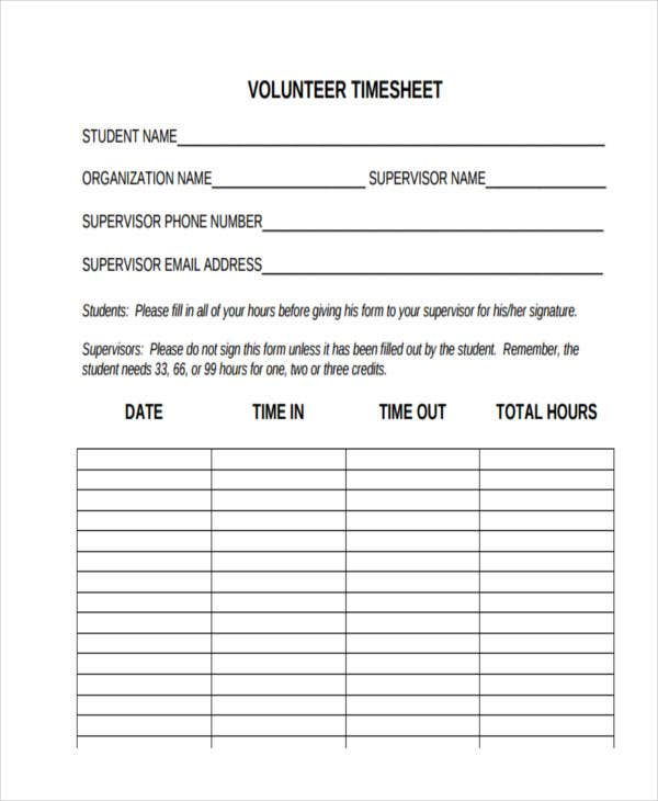 student volunteer timesheet