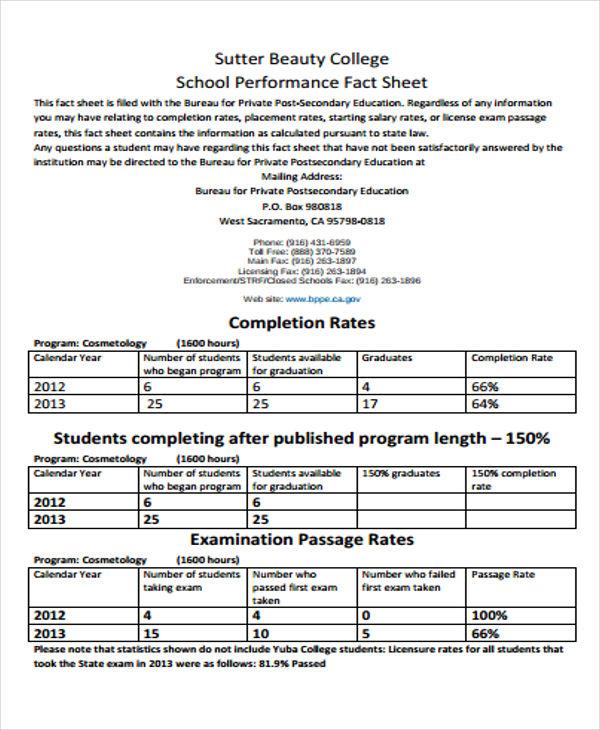 students fact sheet