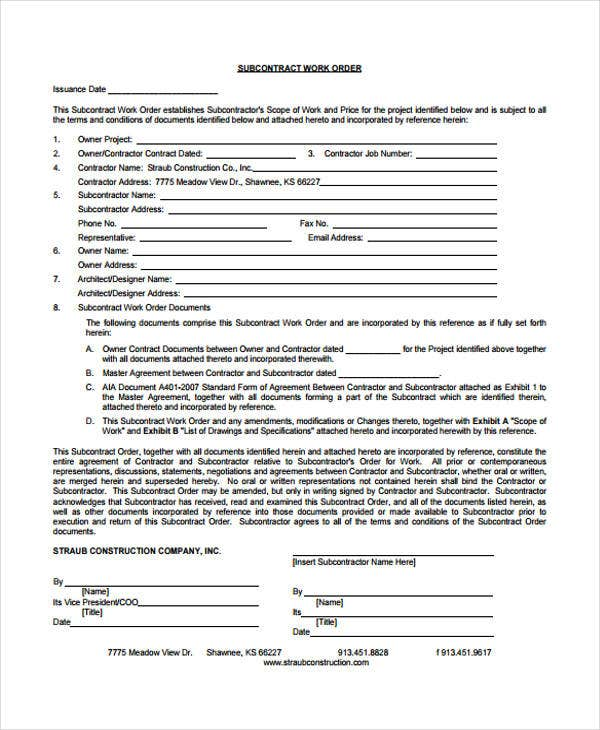33 Order Form Formats – Contractor Work Order Form