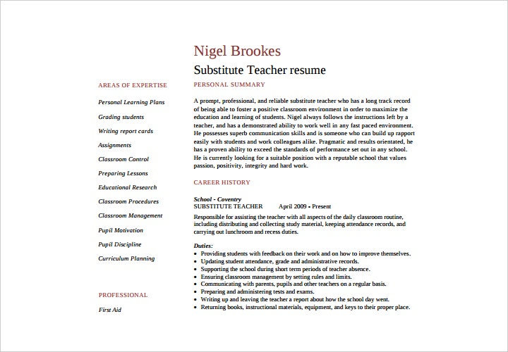 substitute teacher resume