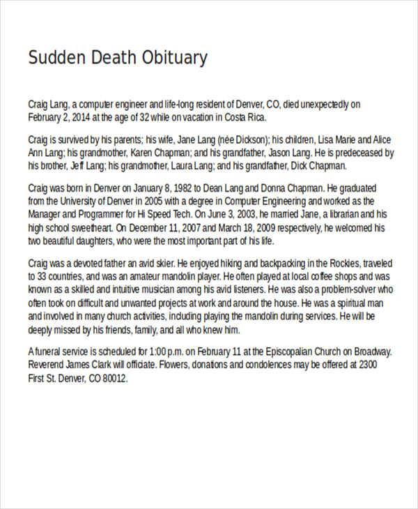 sudden death obituary
