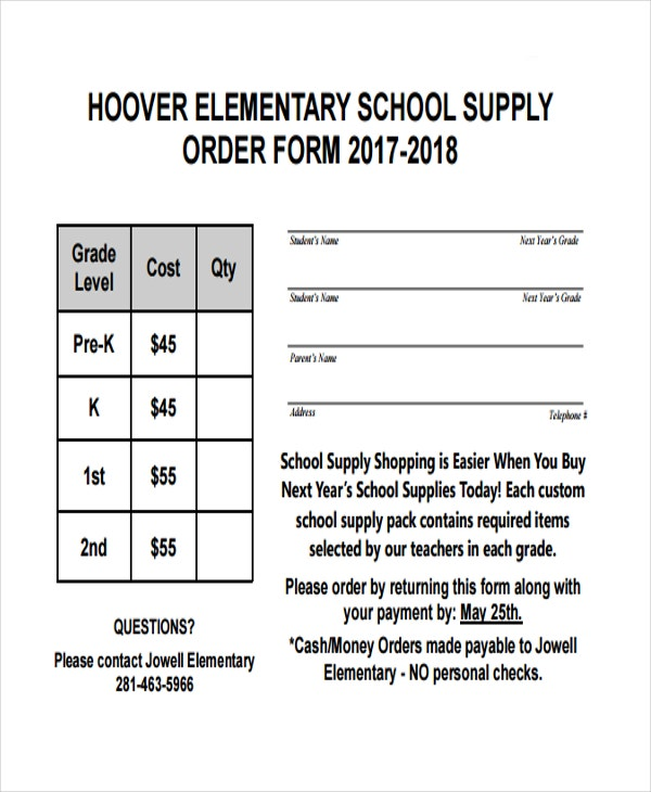 supply order for elementary school