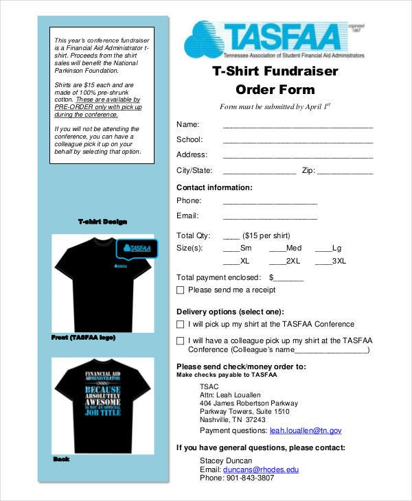 t shirt fundraiser order