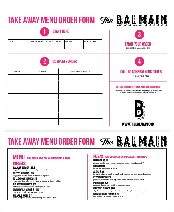 take away menu order
