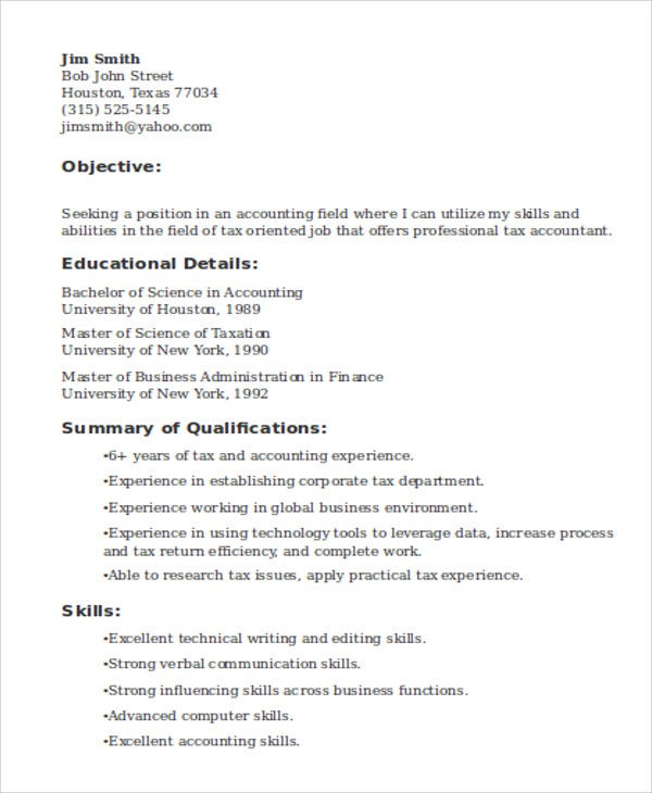 Tax Accountant  Accounting Skills Resume