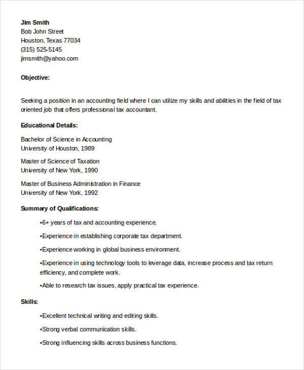tax accountant resume objective objective statement for accounting resume - Professional Accounting Resume