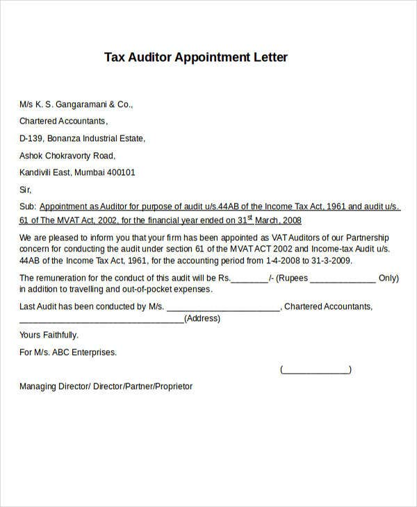 tax auditor appointment letter1