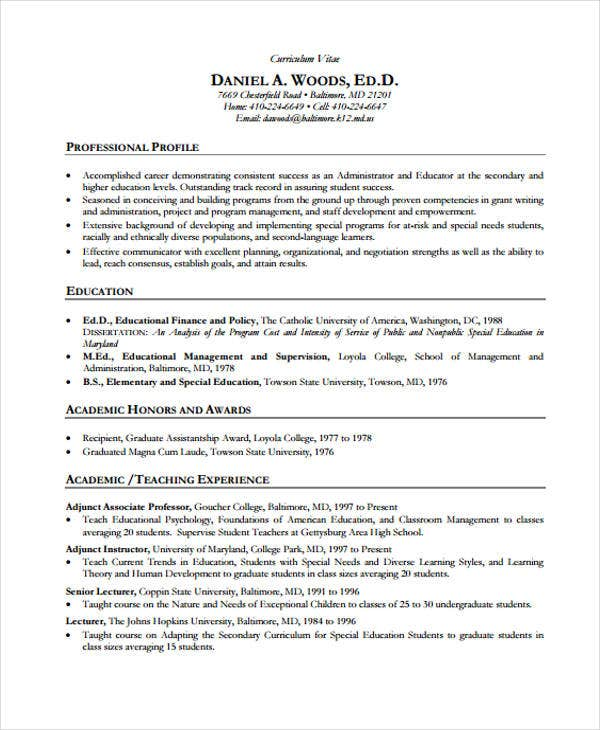 teacher academic resume