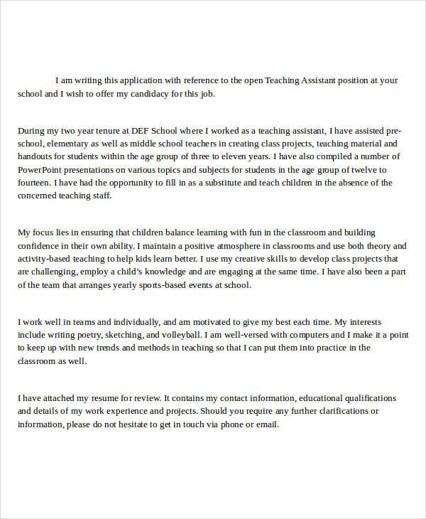 teacher assistance job application