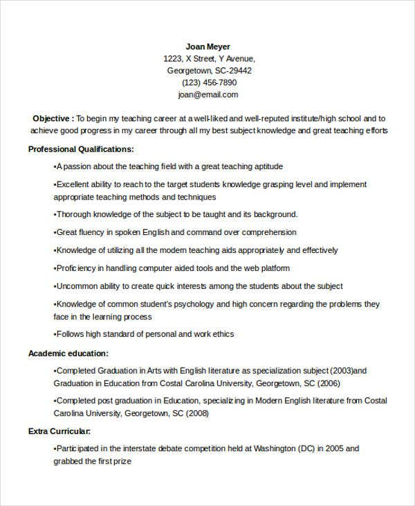 teacher fresher resume1