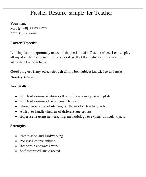 teacher fresher sample resume