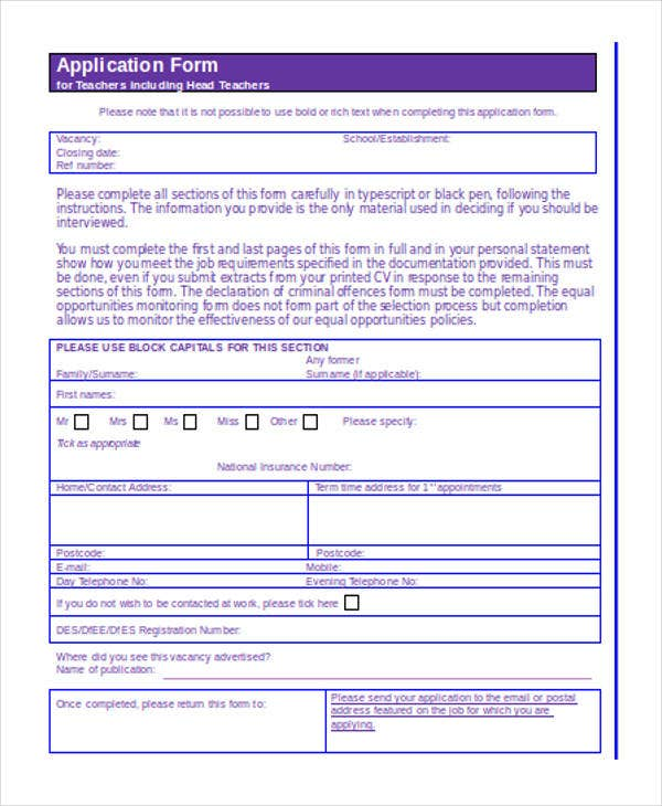 personal statement examples for job application forms