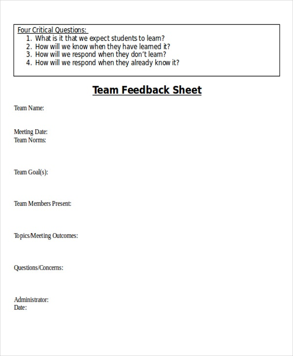 team feedback sheet