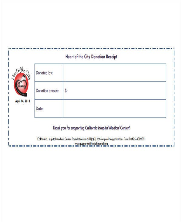 fundraiser receipt templates