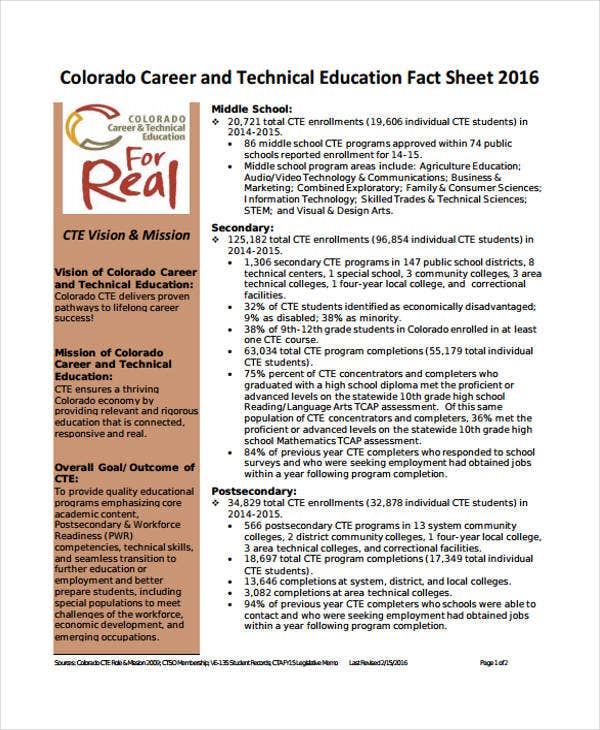 technical education fact sheet