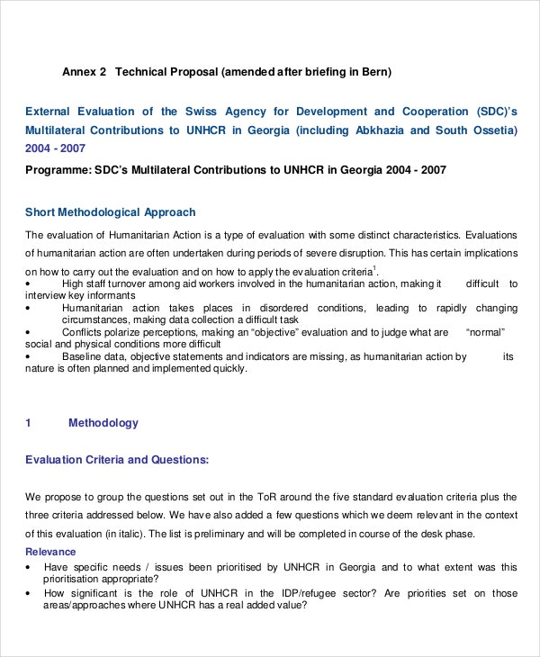 technical proposal for project evaluation
