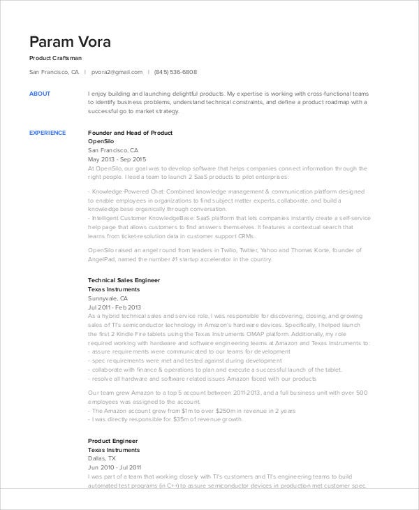 technical sales engineer resume