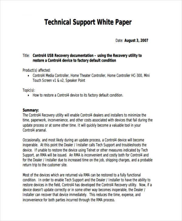 technical support white paper