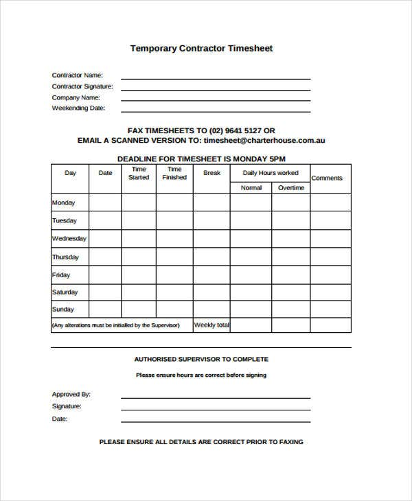 temporary contractor timesheet