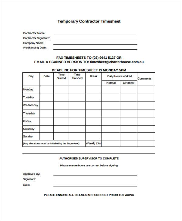 contractor timesheet