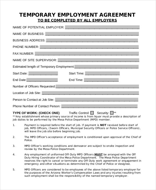 43 basic agreement forms free premium templates for Free temporary employment contract template
