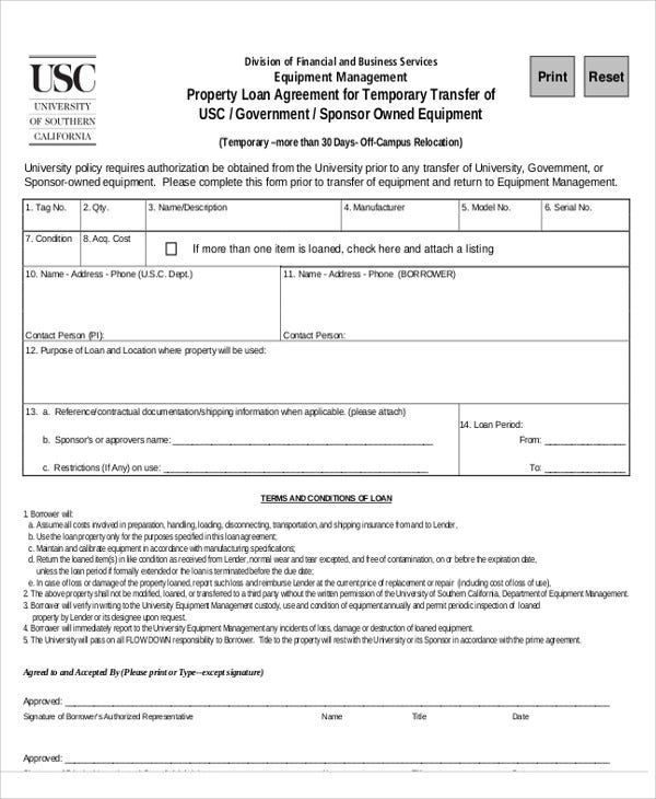 temporary property loan agreement