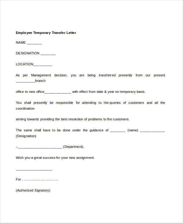 12 Employee Transfer Letter Templates Samples Examples Free