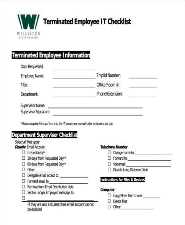 terminated employee checklist