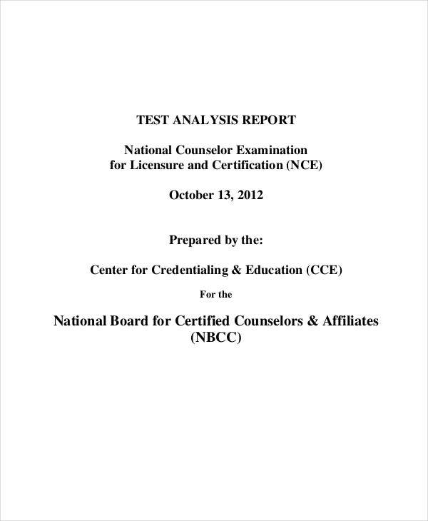 test analysis report