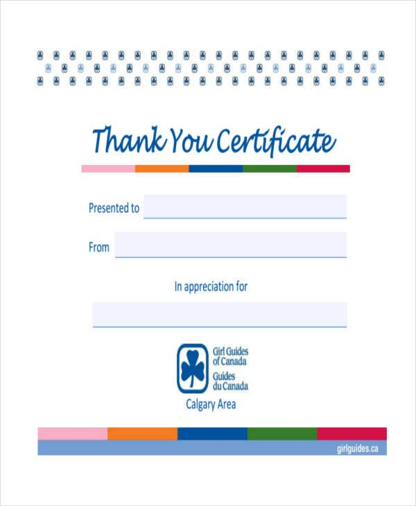 thank you certificate example