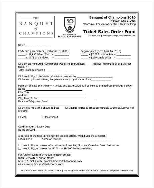 ticket sales order form