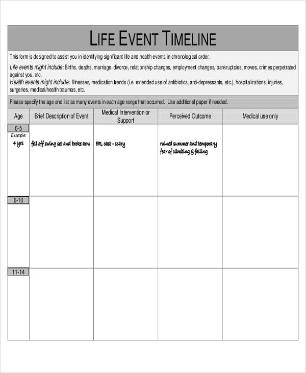 Medical Timeline Templates  Free Samples Examples Format