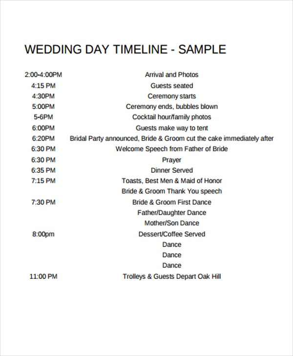 Timeline For Wedding Day Ceremony