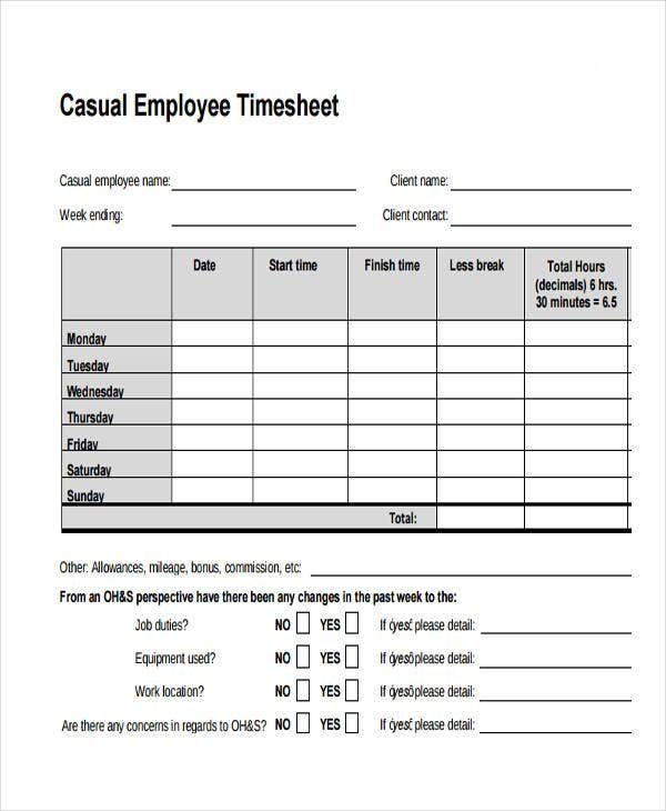 timesheet for casual employee