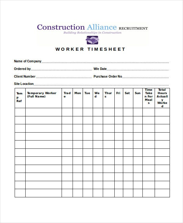 timesheet for construction worker
