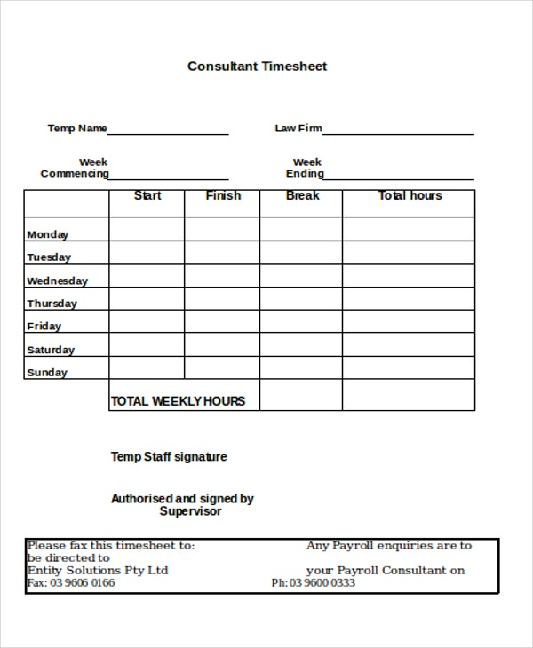 timesheet for consultant