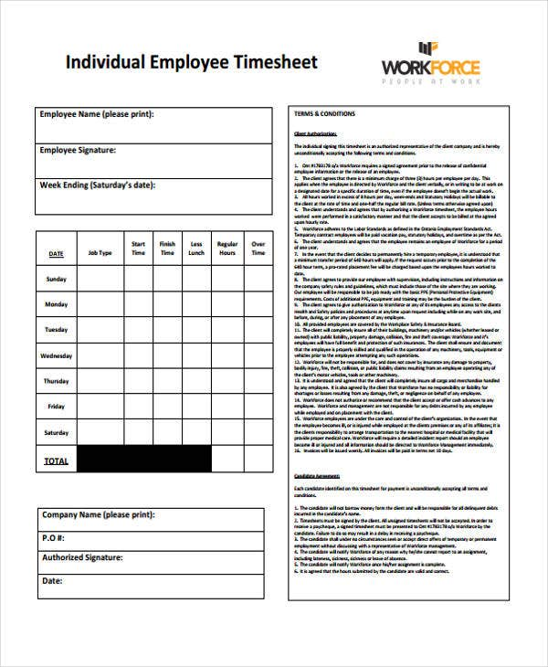 timesheet for individual employee