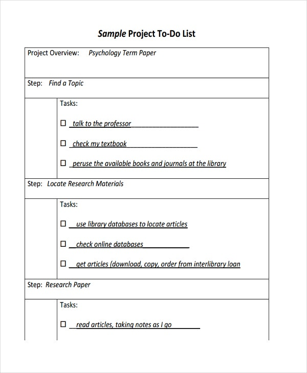 Project To Do List Templates Project To Do List Template To Do List