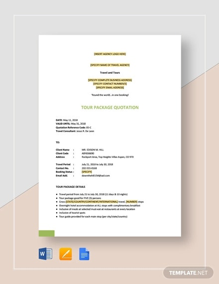 tour package quotation template