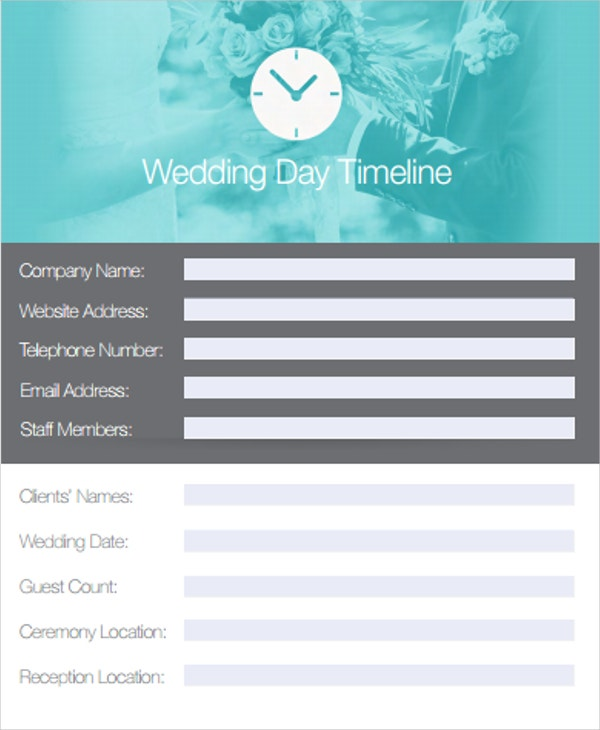 traditional wedding day timeline