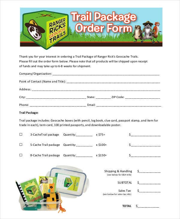 trail package order form